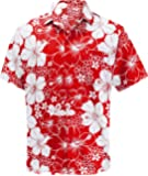 La Leela Hawaiian Shirt Men Short Sleeve Front-Pocket  Printed Hibiscus flora