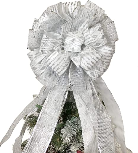 GREAT FOR WREATHS SILVER GLITTER PLASTIC CHRISTMAS BOW CHRISTMAS TREE ORNAMENT