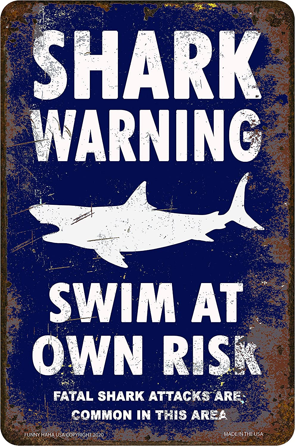 Funny HAHA USA Shark Warning Sign Metal Sign Navy Blue