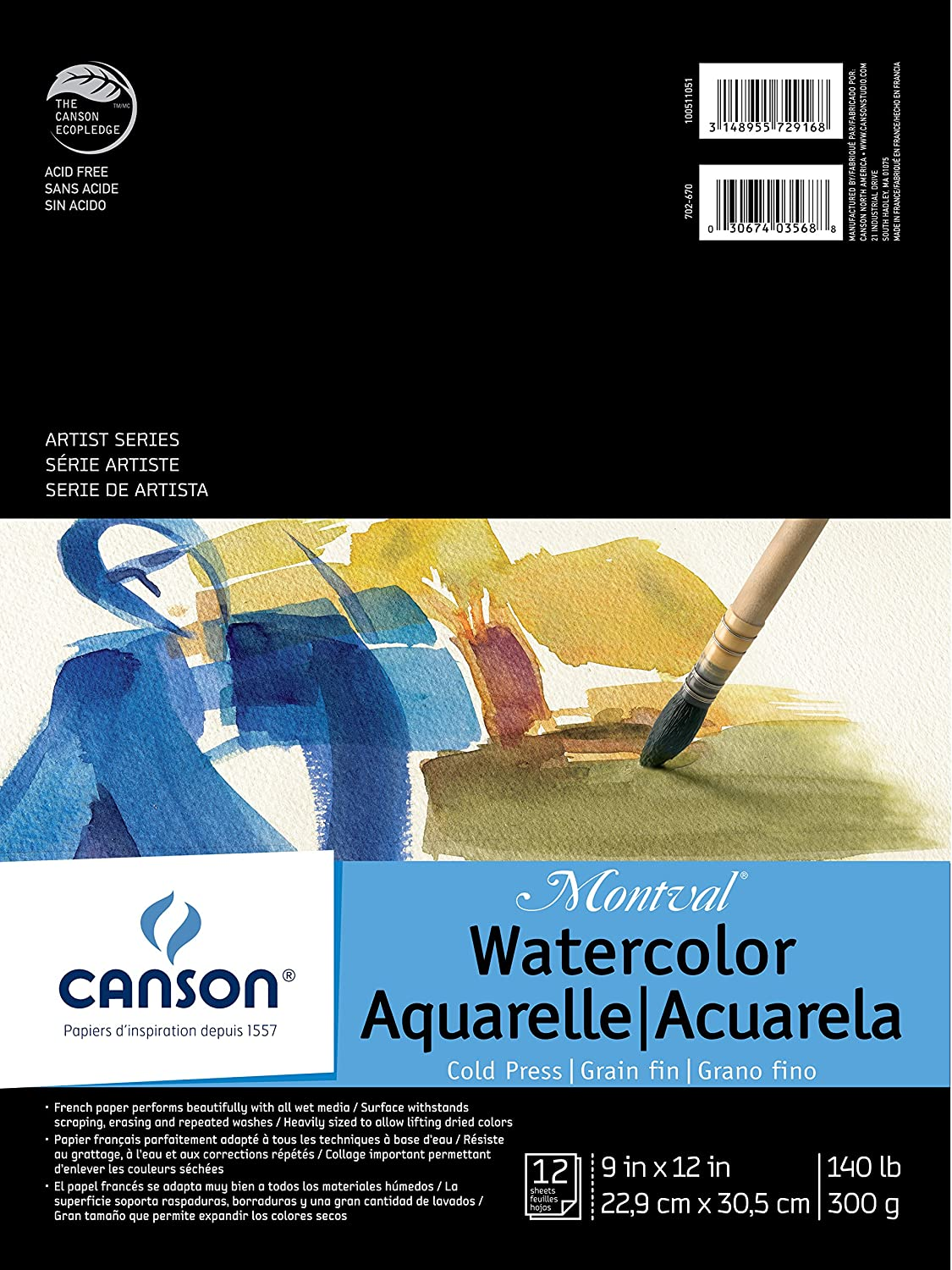 Canson Montval Watercolor Pad, 9X12 Fold Over 9X12 Fold Over Canson Inc. 100511051
