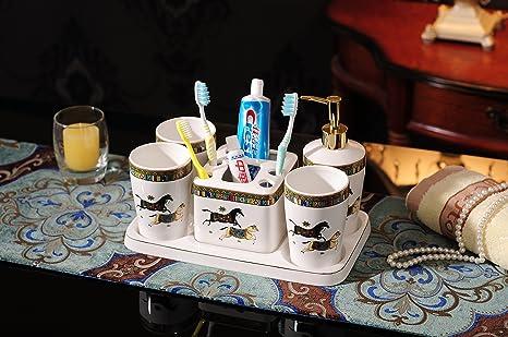 Amgend Xiao Shen - Taza De Cepillo De Dientes De Cerámica Europea Larga Con Mango Juego