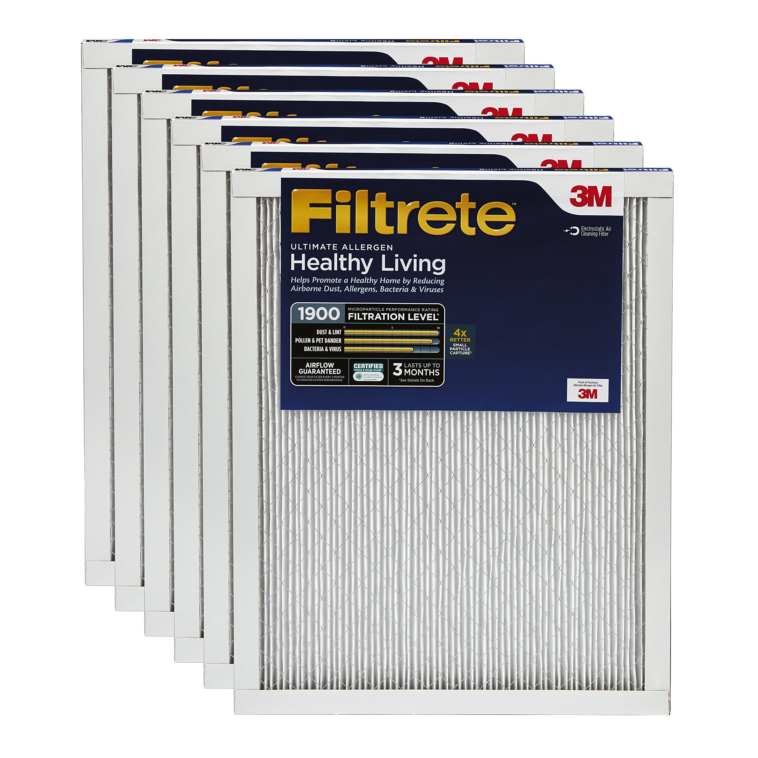 Filtrete MPR 1900 24 x 24 x 1 Healthy Living Ultimate Allergen Reduction AC Furnace Air Filter, Attracts Fine Inhalable Particles, Guaranteed Airflow up to 90 days, 6-Pack
