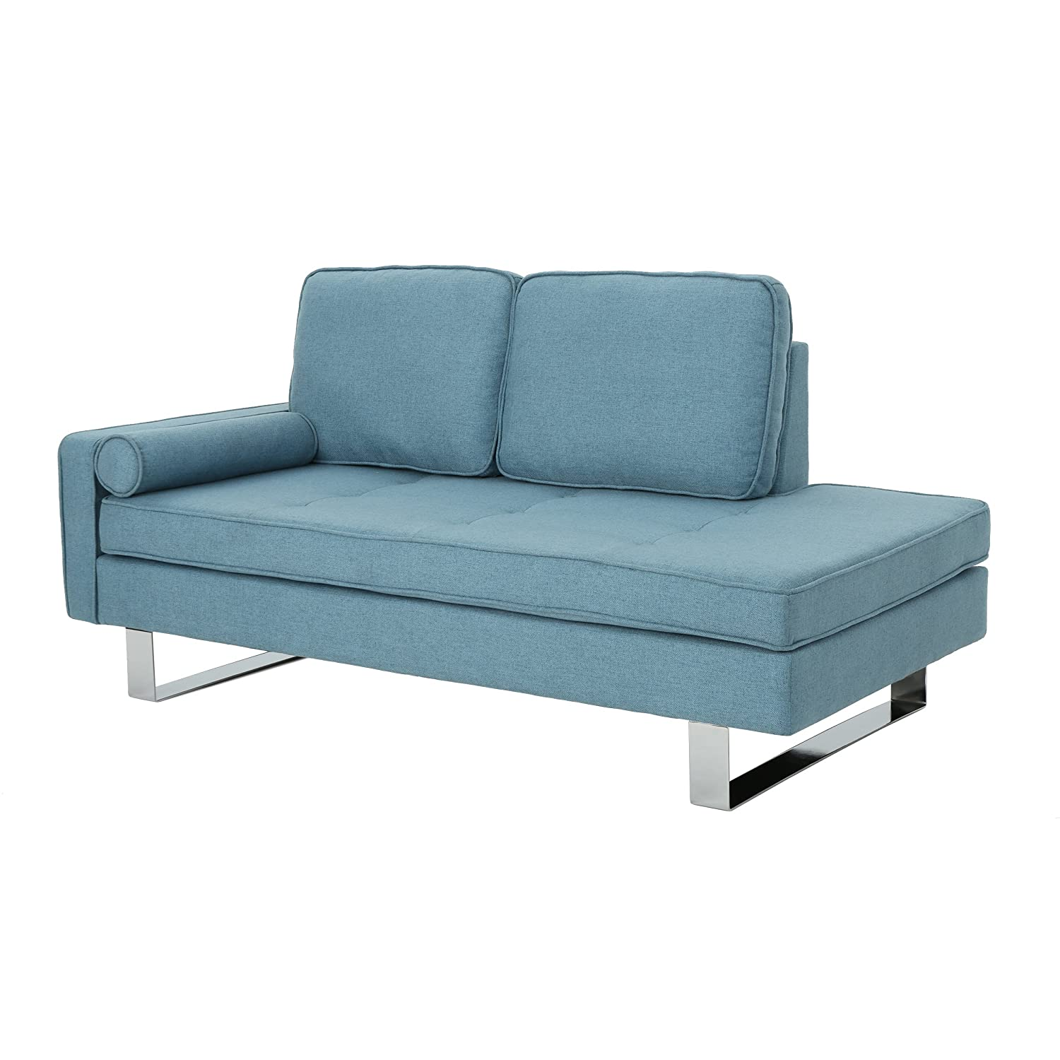 Christopher Knight Home Phelps Modern Fabric Chaise Loveseat, Blue, Silver