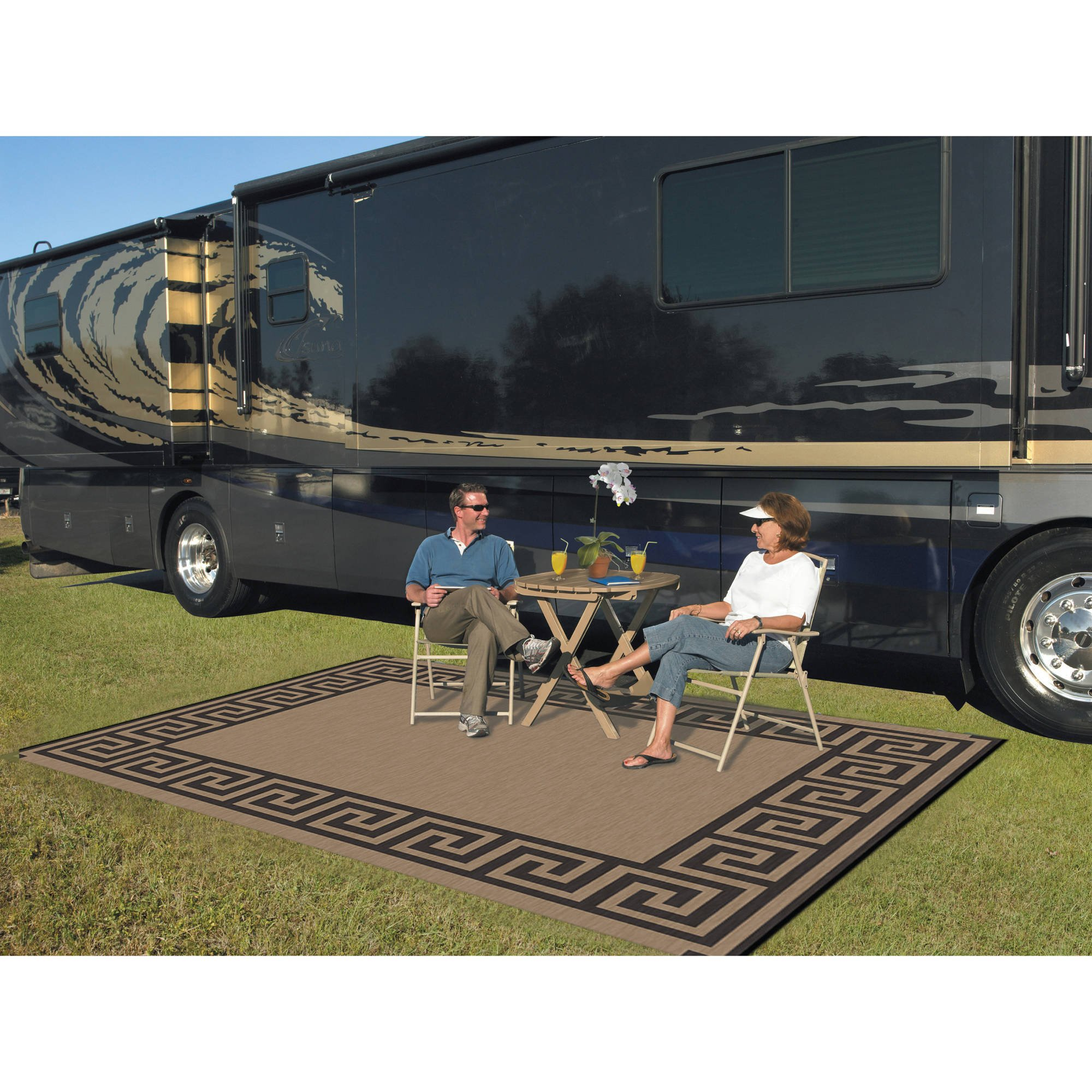 Patio Mats 9' x 12' Reversible RV Patio Mat, Indoor/Outdoor Rug, Camping Mat