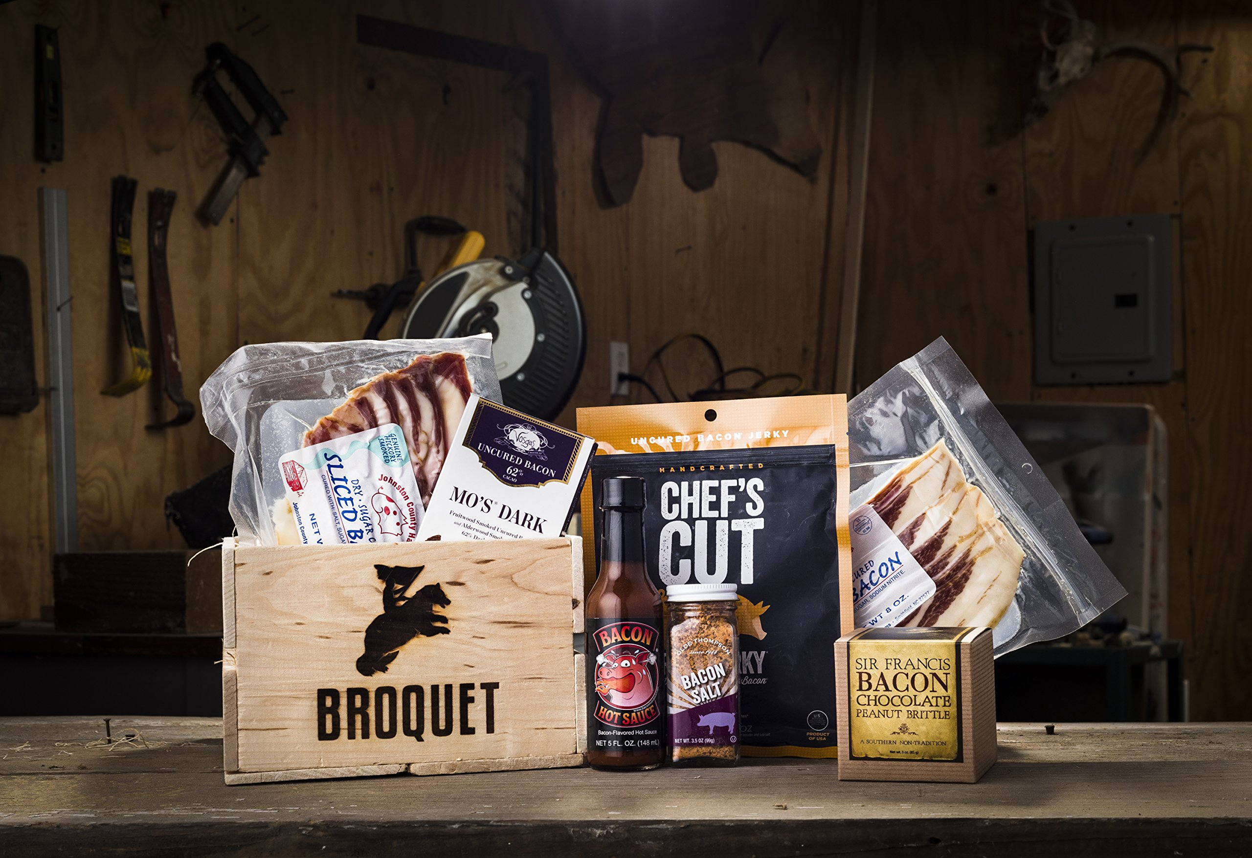 Bacon Gift Pack (Bacon Lover Sampler Set) - Bacon Six Ways - Gourmet Food Gift - Great Gift For Men - Comes in a Wooden Gift Crate by Broquet (Image #2)
