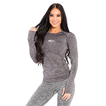 87829ade4628 SMILODOX Slim Fit Longsleeve Damen 'Rise' | Seamless - Funktionsshirt für Sport  Fitness Gym