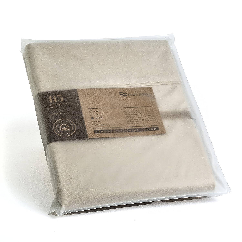 Queen 600 Thread Count Peru Pima Bed Sheet Set Ivory CO022143 Temperature Regulating Sheets 100/% Peruvian Pima Cotton Sateen