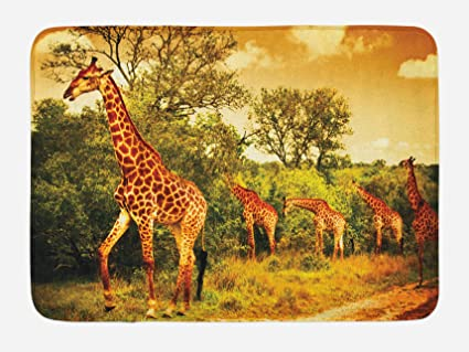 Amazoncom Ambesonne Giraffe Bath Mat African Safari Animals - African safari bathroom decor