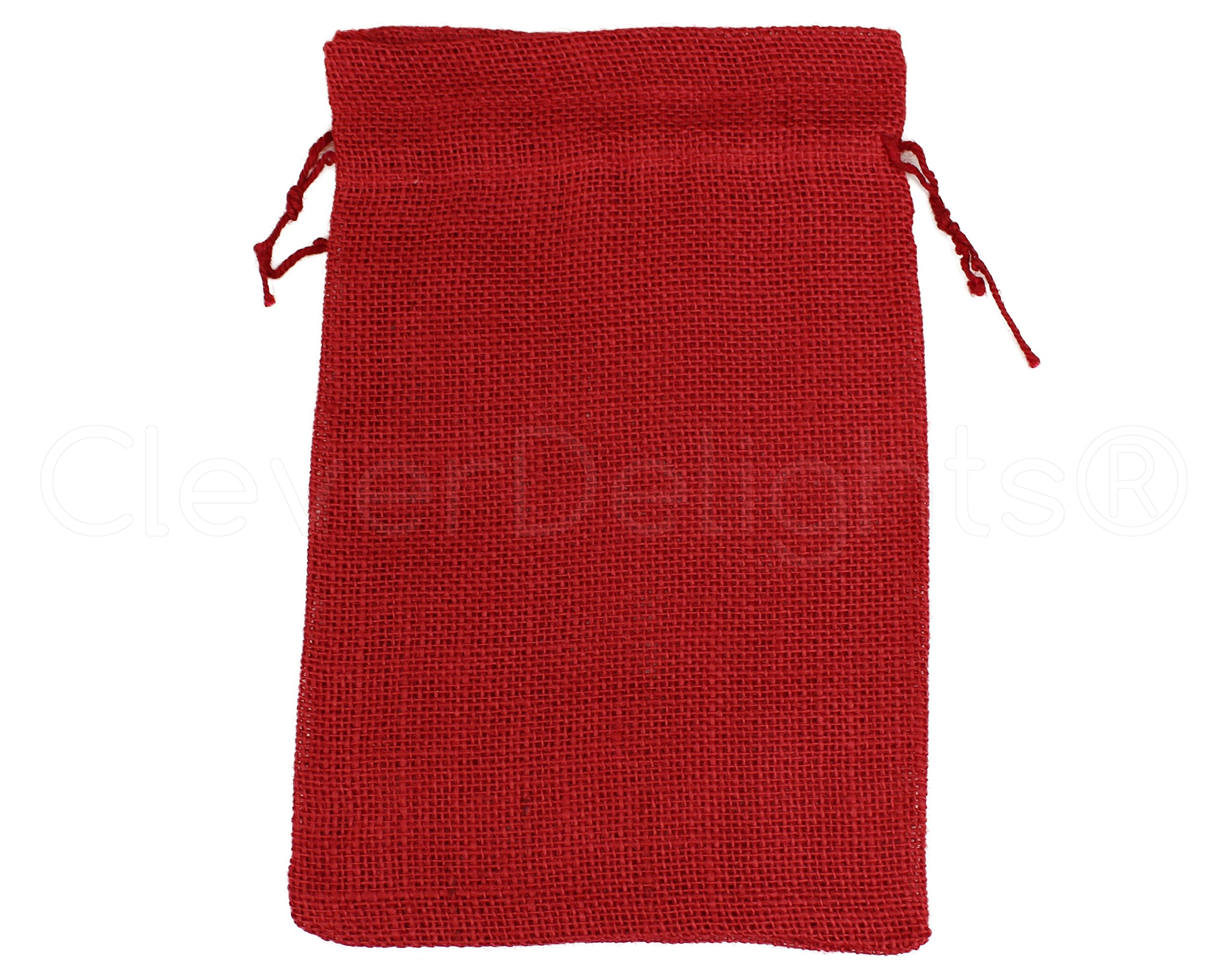 25 Pack - CleverDelights 8'' x 12'' Red Burlap Bags with Natural Jute Drawstring - Christmas Present Holiday Décor Rustic Party Favor Pouch Bags by CleverDelights (Image #1)