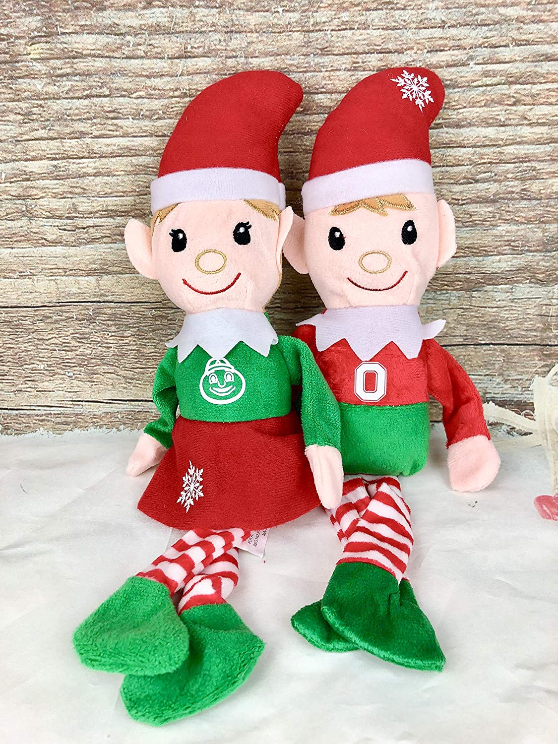 Ohio State Buckeyes, Elf, Santa's Helpers, Shelf Sitters Plush Dolls Santa' s Helpers