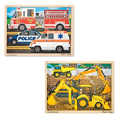 Melissa & Doug Vehicles Wooden Jigsaw Puzzles Set - Construction and Rescue (24 pcs): Melissa & Doug: Toys & Games