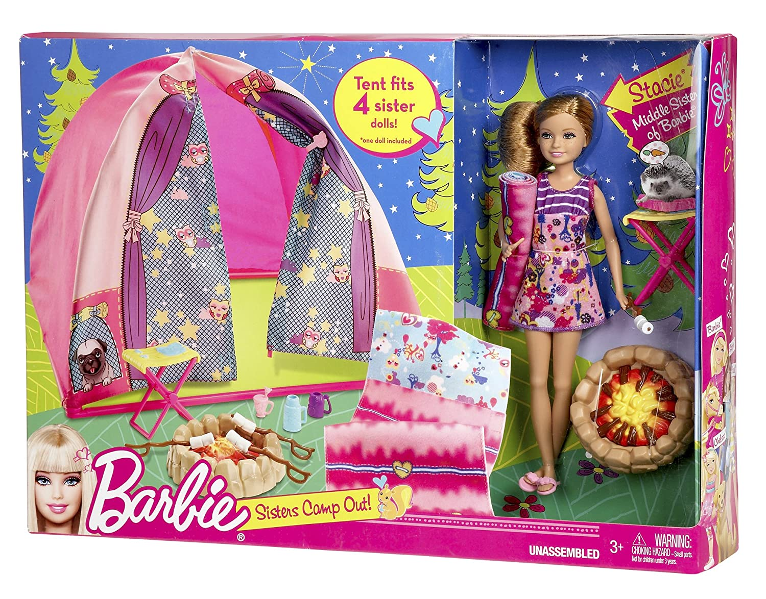 Barbie Sisters C& Out Set with Stacie Doll Tent Sleeping Bag u0026 Accessories Amazon.in Toys u0026 Games  sc 1 st  Amazon India & Barbie Sisters Camp Out Set with Stacie Doll Tent Sleeping Bag ...