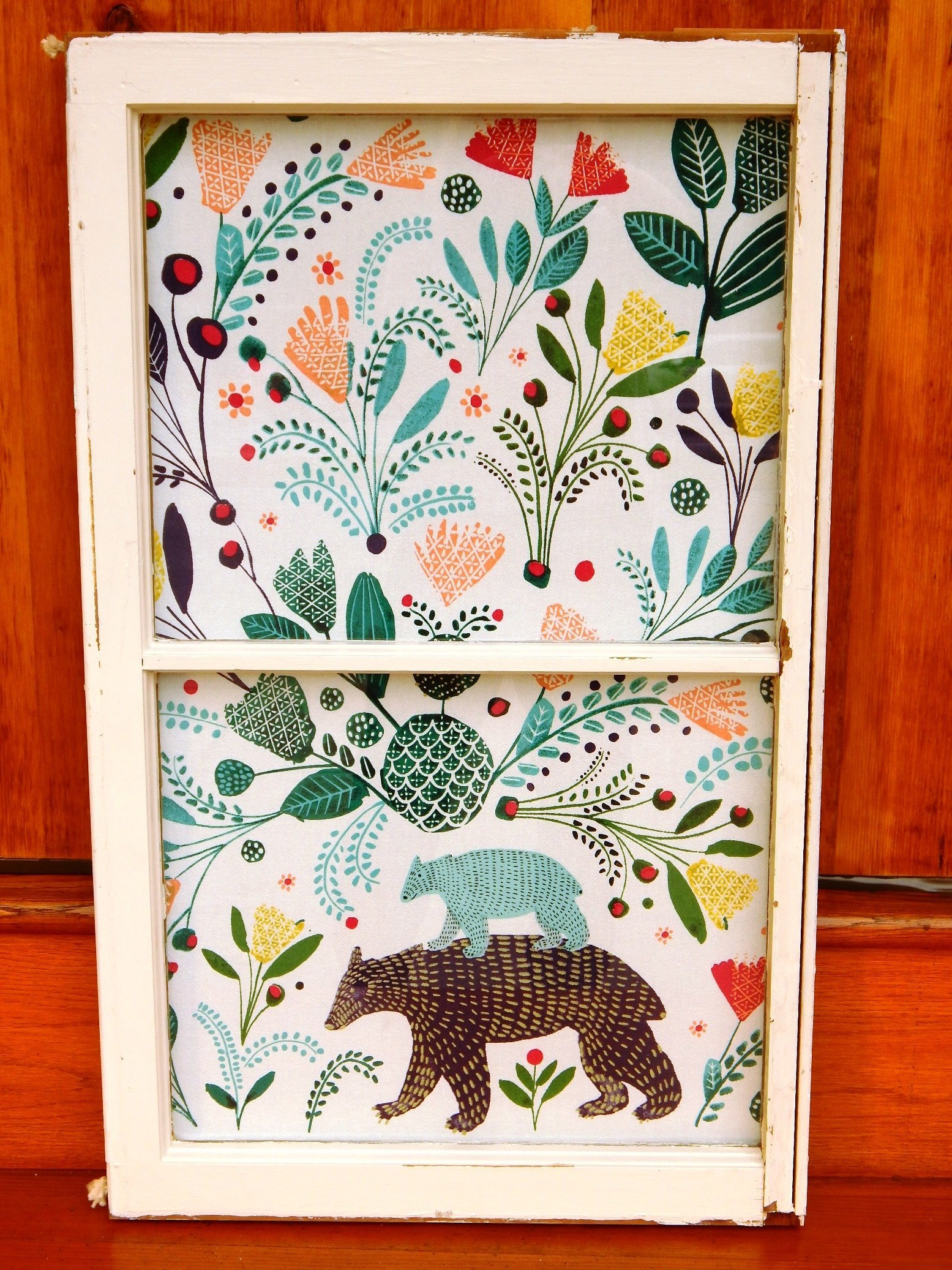 BEARY BEARY HAPPY--Mama & Baby Bear Amid the Colorful Woods-Fabric Backed Old Window-Original Unique Wall Art For Child's Room, Home Decor