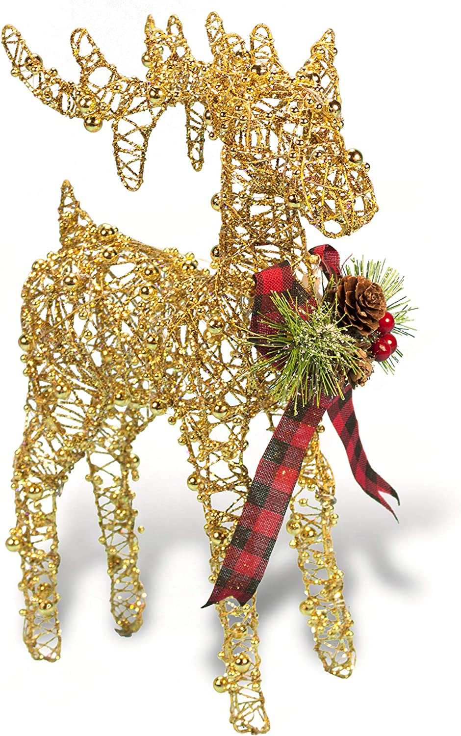 Christmas Reindeer Figurine - Glittery Beaded Metal Wire Reindeer - with Plaid Bow & Holiday Floral Accents (Gold)