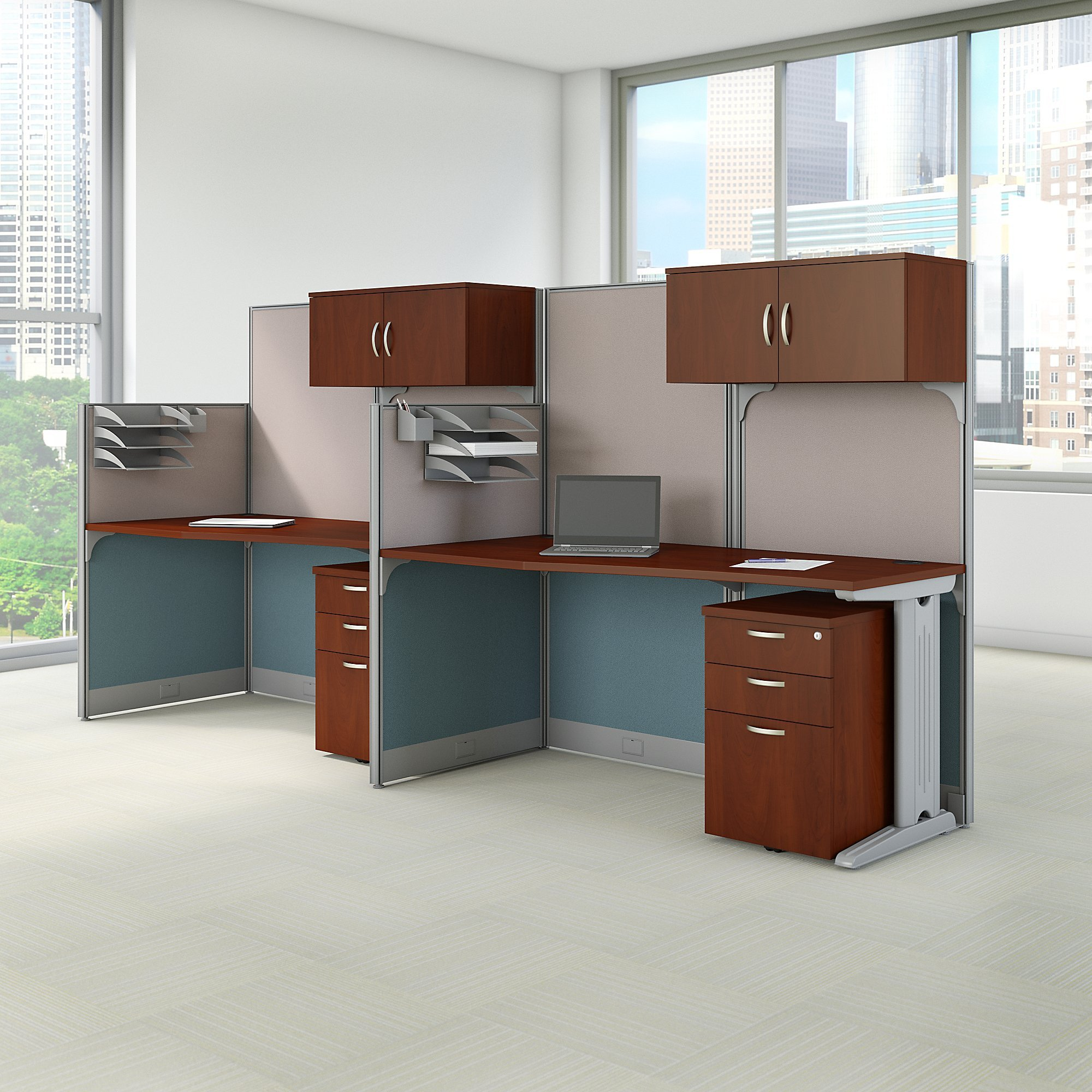Bush Business Furniture Office in an Hour 65W x 33D Cubicle Workstation in Hansen Cherry by Bush Business Furniture (Image #7)