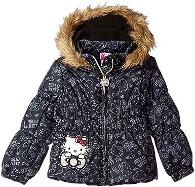 b6b97caa6 Hello Kitty Girls' All Over Printed Puffer Jacket with Fur Trim Hood, Black,