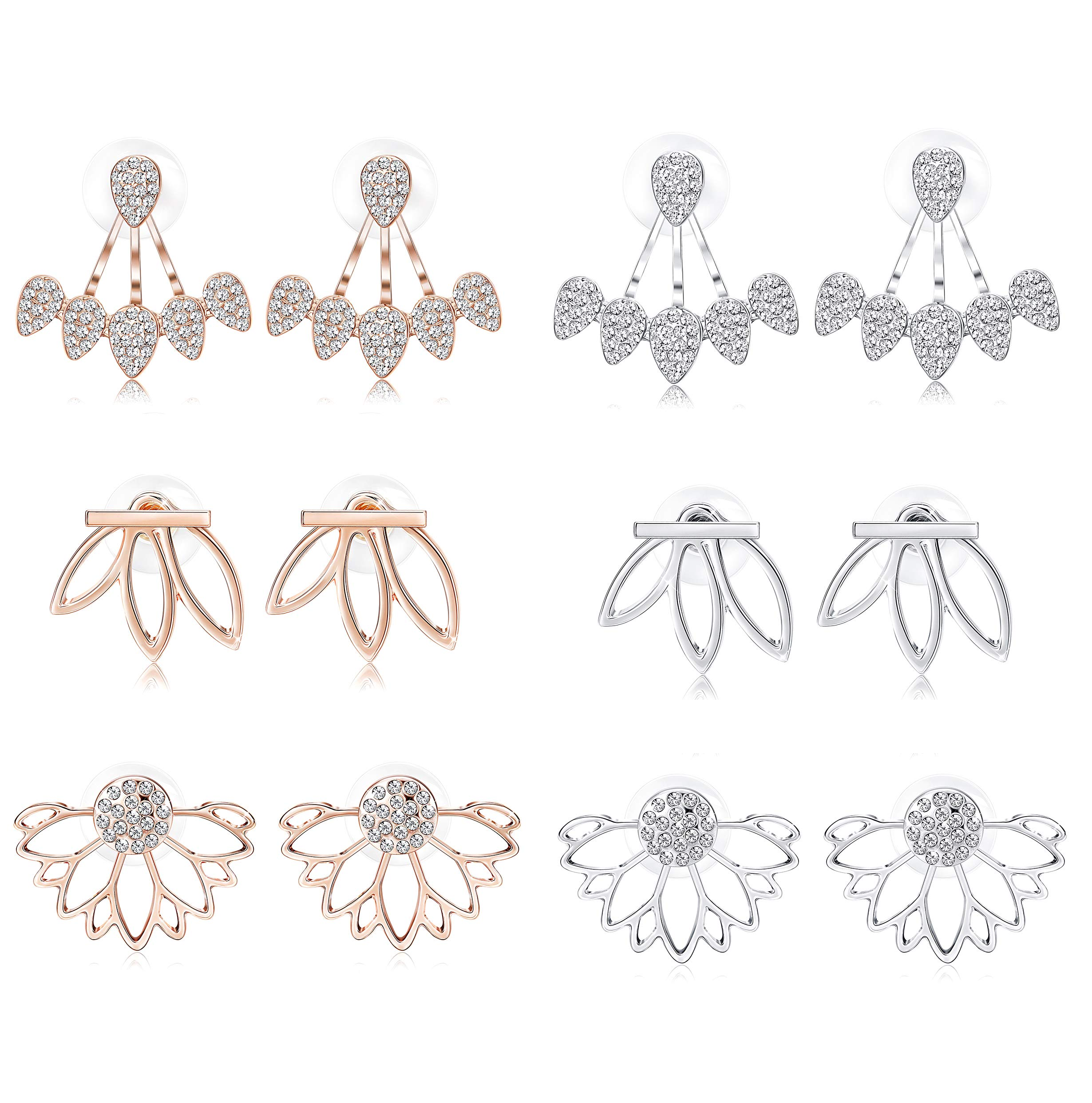 LOYALLOOK Hollow Lotus Earrings for Women Girls Fashion Flower Ear Jackets Crystal Simple Chic Stud Earrings Bar Stud Earrings Cuff Earrings Set (6 Pairs)