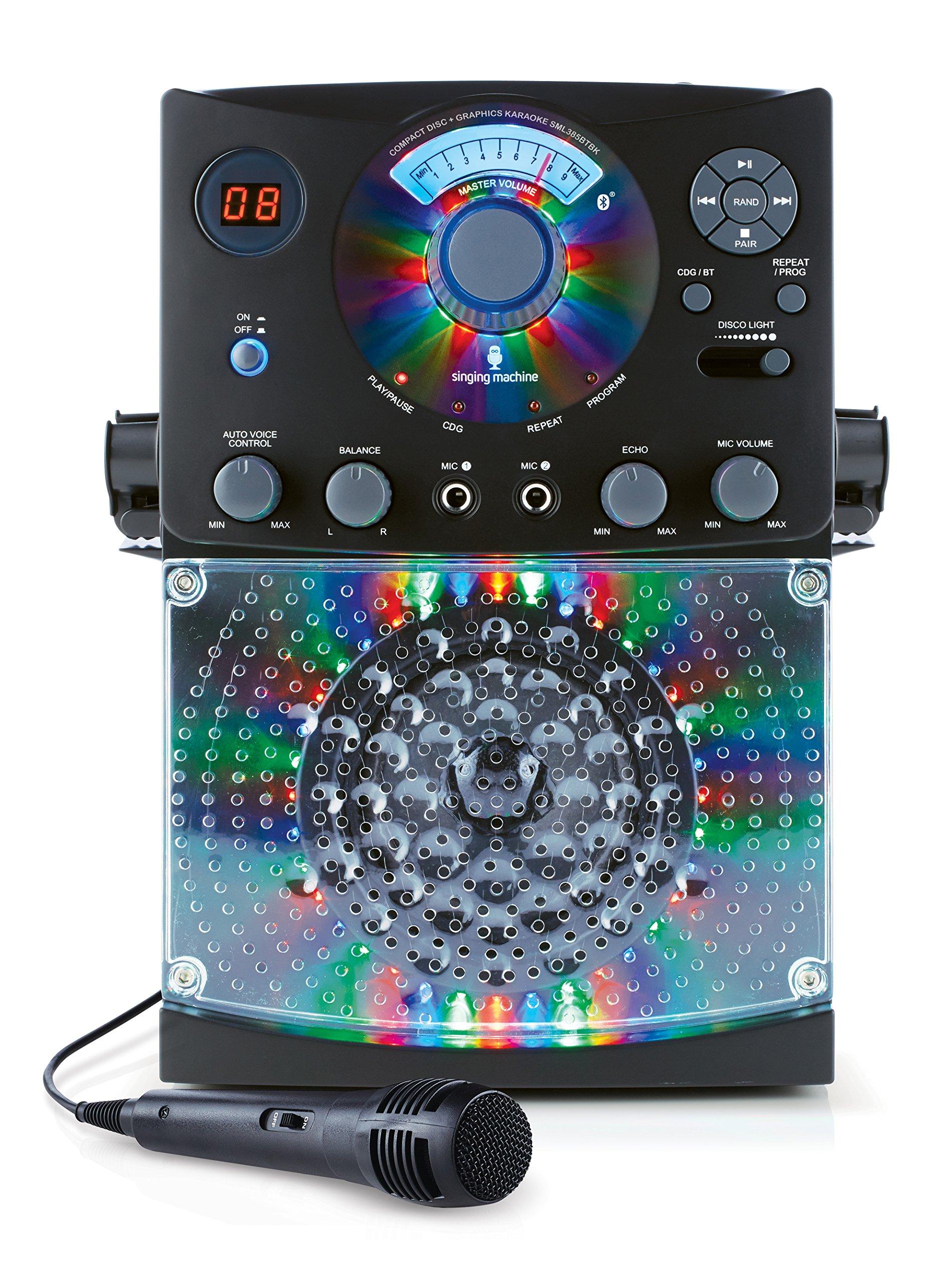 Singing Machine Karaoke SML385BTBK with Bluetooth, Sound and Multi Color LED Lights (Black)