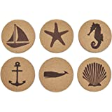 Jetty Home 6 Piece Coaster Nautical Beach Gift Set, Cork