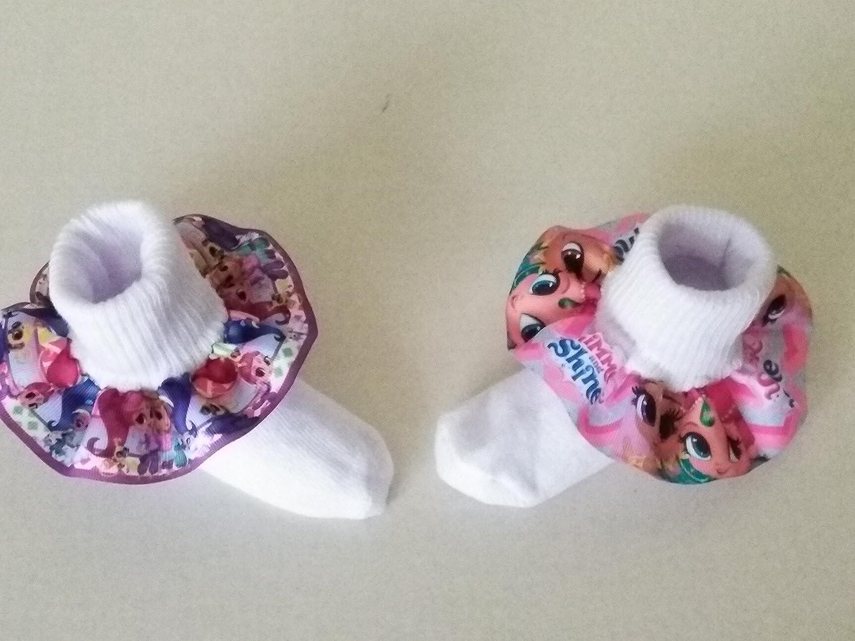 Shimmer and Shine Ruffle Socks, Baby ruffle socks, infant ruffle socks, birthday ruffle socks, Character socks, Shimmer and Shine hair bow