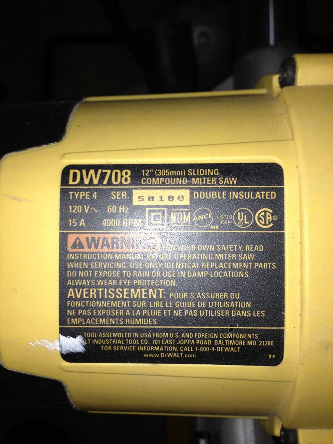 91fLt3pyTML._SL1500_ dewalt dw708 12 inch double bevel sliding compound miter saw Transformer Grounding Diagrams at bayanpartner.co