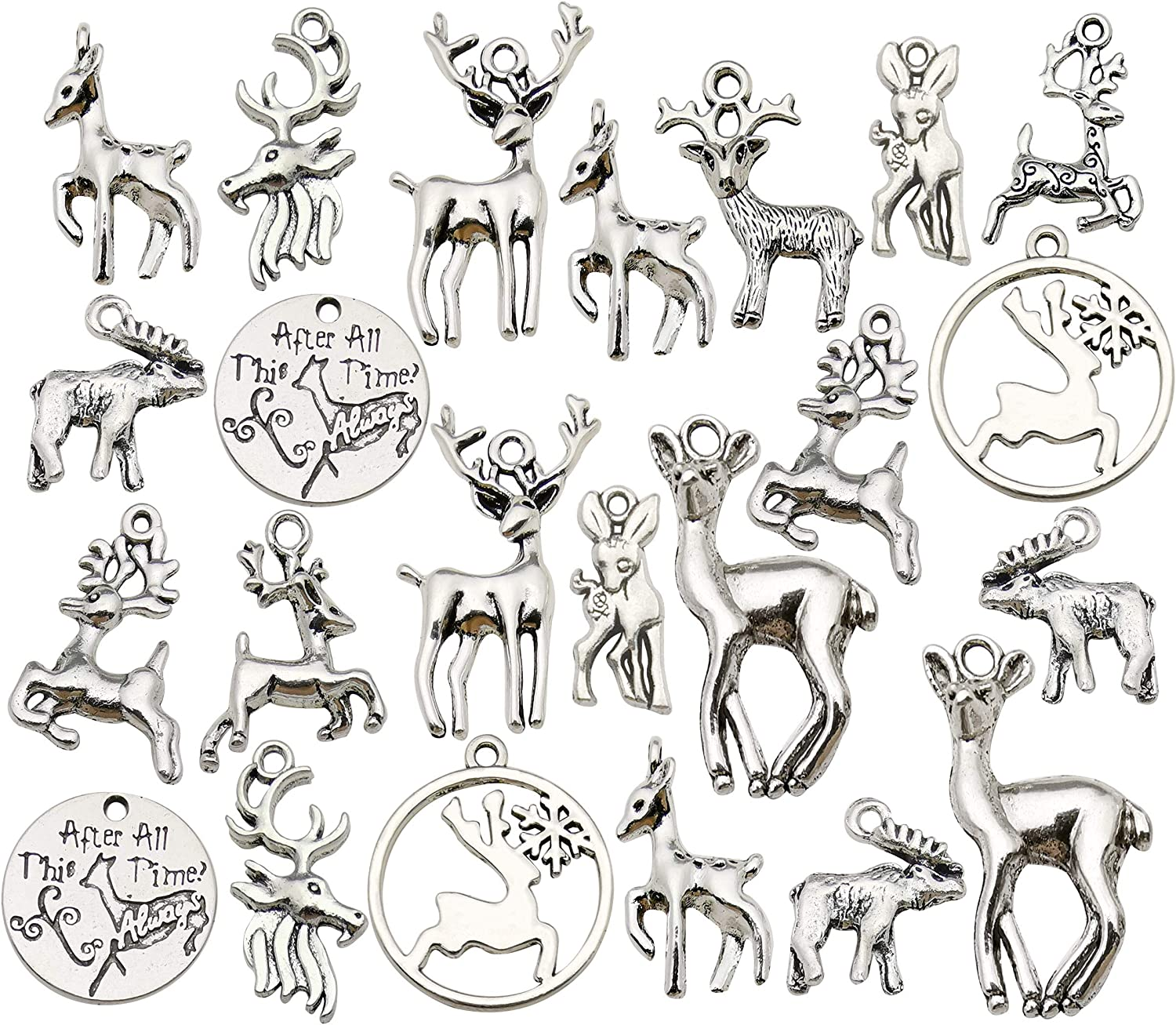 Wholesale Bulk Lots Christmas Animal Elk Deer Charms for Jewelry Making Mixed Smooth Tibetan Silver Metal Charms Pendants DIY For Jewelry Making Necklace Bracelet and Crafting 60pcs 100g M366