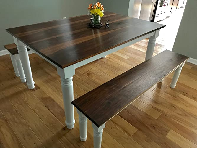 Attractive Farmhouse Walnut Dining Table 60u0026quot; Long X 40u0026quot; Wide X 30u0026quot; Tall(