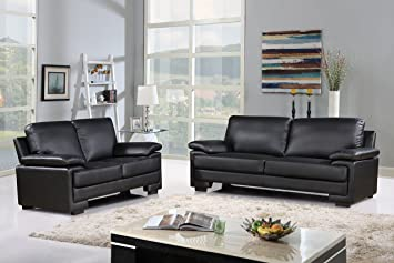 Modern Faux Leather Sofa And Loveseat Living Room Furniture Set Black