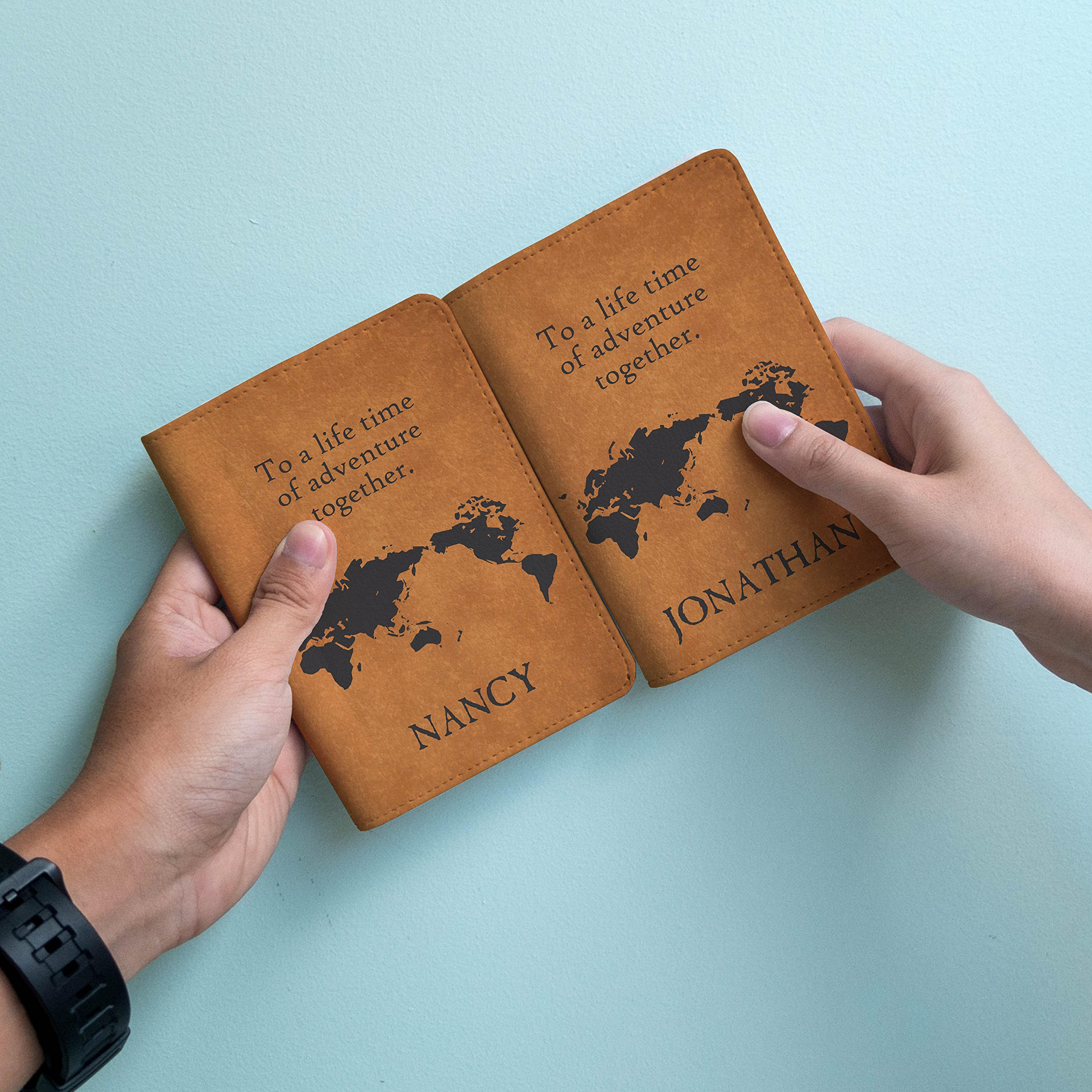 Couple passport holder Set of 2 - Personalized with your Names by Handmade Curious (Image #3)