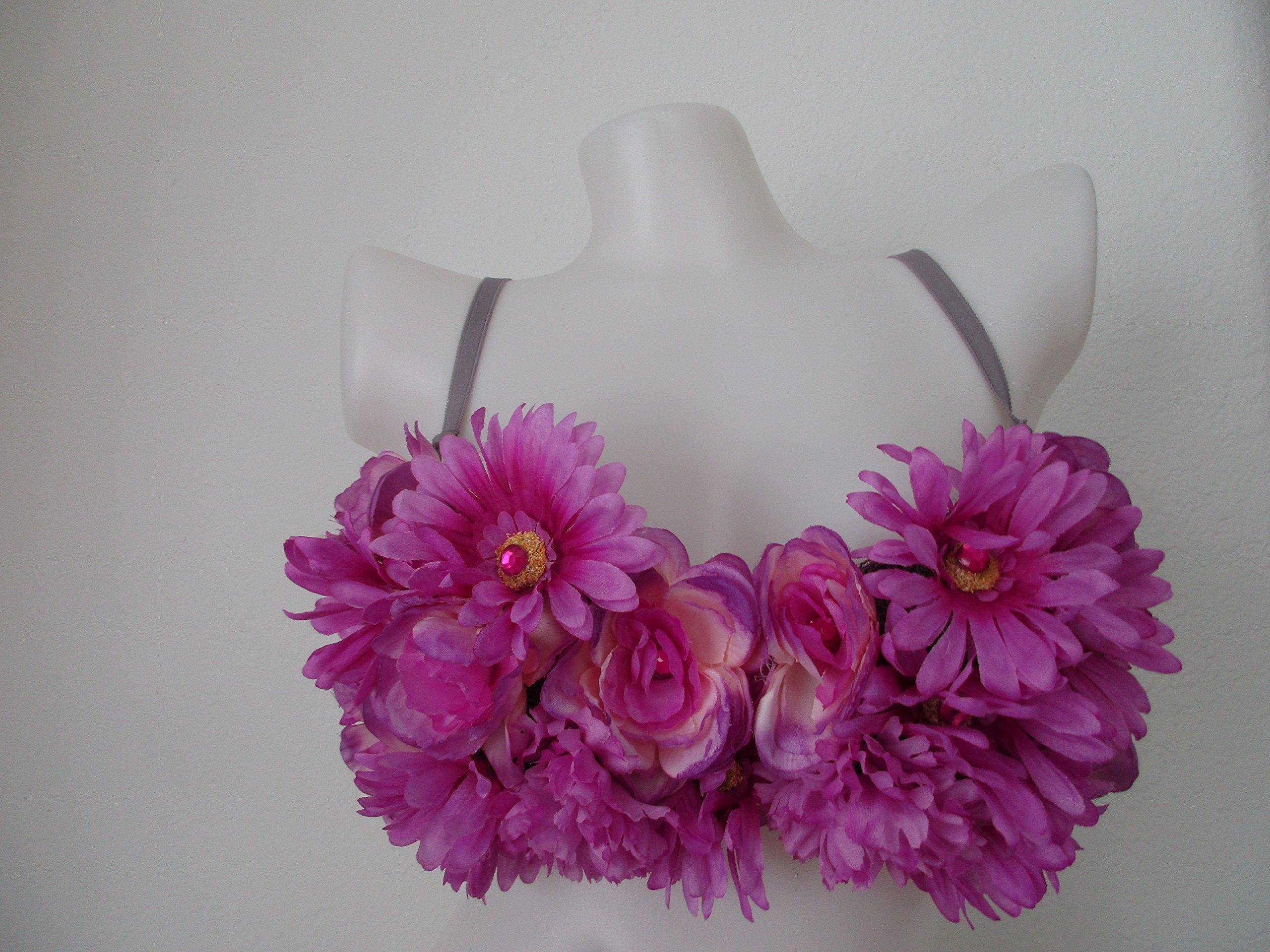 Pink Purple Gray Rave Bra 34B - Floral Embellishment - Nice for EDC / Coachella by Libratique Marketplace LLC