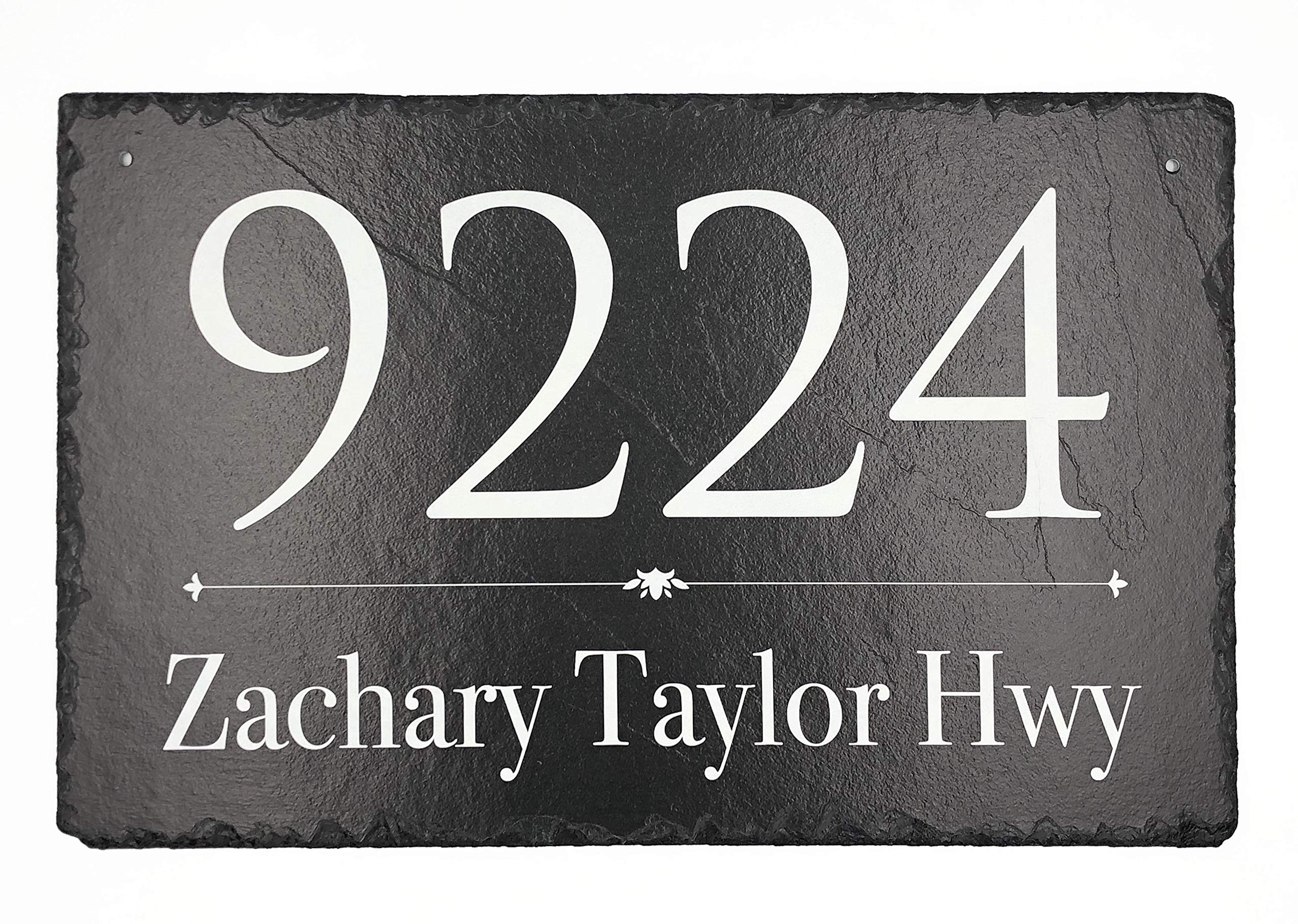 "Beautifully Handcrafted and Customizable Slate Home Address Plaque (16""x10"" 12''x6'' or 18""x8"") Personalized House Sign with and mounting hardware. Improve the curb appeal of your property"