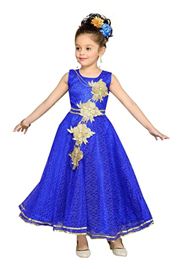 c627e40d845 Aarika Girl s Self Design Flower Net Fabric Party Wear Ball Gown  (G-2855-BLUE 38 12-13 Years)  Amazon.in  Clothing   Accessories