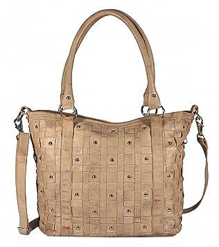 Navarro - Leder Shopper Schultertasche mit Nieten Studed Vintage URBAN BAG  Washed Damen Handtaschen 45x31x16 cm