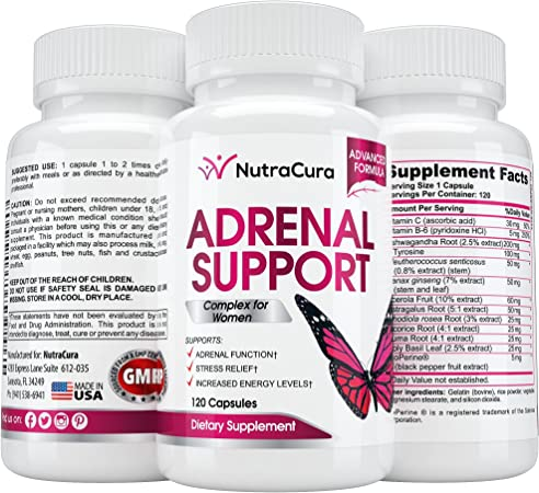 NutraCura Adrenal Support for Women - Adrenal Fatigue Supplement - Cortisol Manager - A Complex Formula of Natural Ingredients, Includes Ginseng, Tyrosine, Ashwagandha Rhodiola Rosea. 120 Capsules