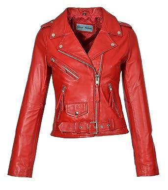 b566e6f8d8f Ladies Real Leather Biker Jacket Casual Slim Fit Retro Brando Style Mia Red  (X-