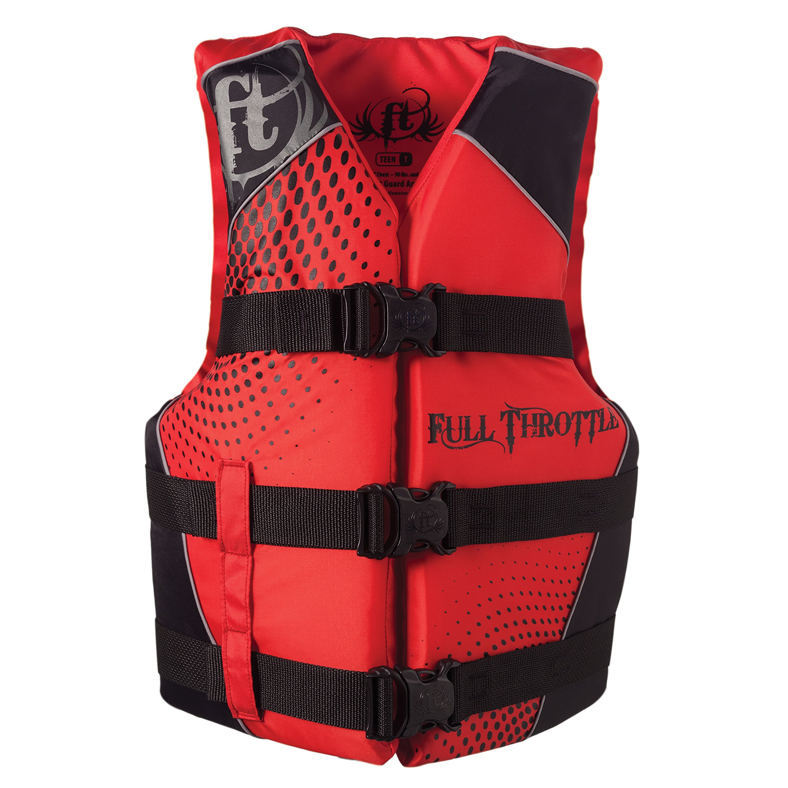 Full Throttle Red/Black Teen Nylon Watersports Vest