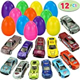 "JOYIN 12 Die-Cast Car Filled Big Easter Eggs, 3.2"" Bright Colorful Prefilled Plastic Easter Eggs with Different Die-cast Cars"