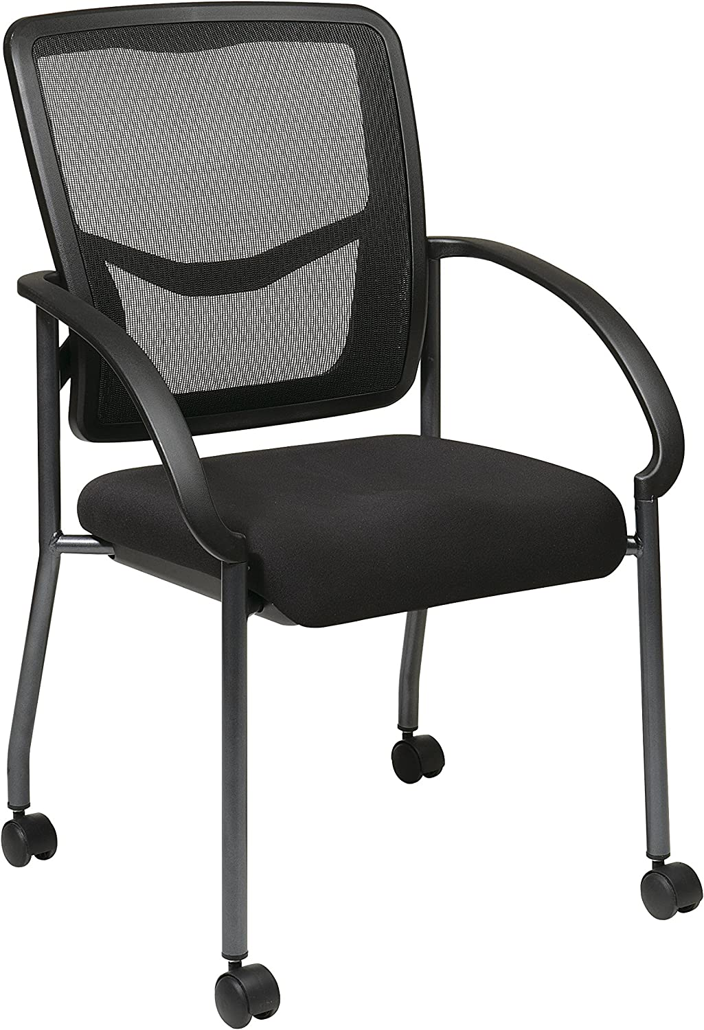 Office Star Breathable ProGrid Back and Padded Coal FreeFlex Seat, Contour Arms, Titanium Finish Stacking Visitors Chair with Casters, Black: Furniture & Decor