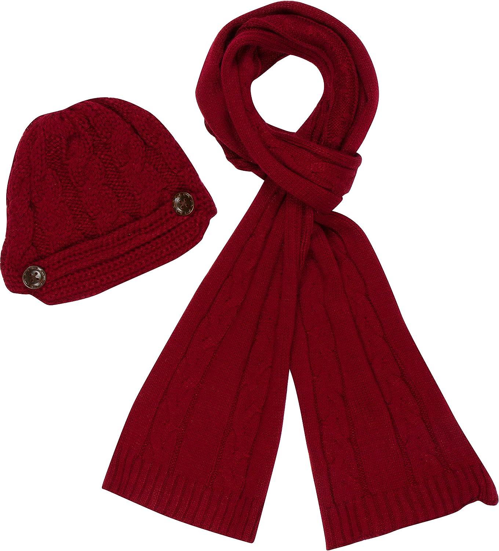 Sakkas Womens Womens 2-piece Cable Beanie Visor lavorato a maglia sciarpa e cappello Set con pulsante
