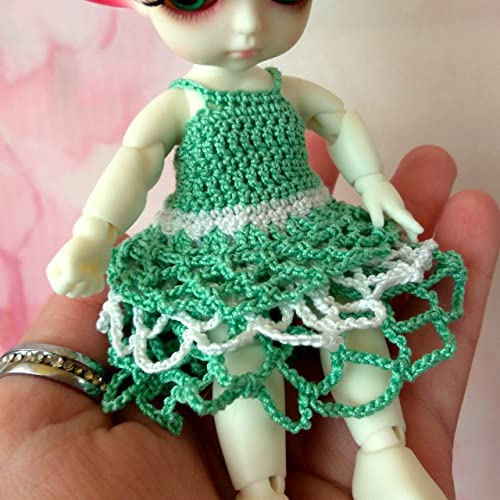 Amazoncom Lati Yellow Doll Dress Miniature Crochet Green Outfit