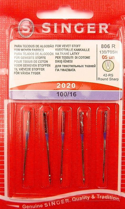 Agujas de coser originales de Singer 2020, 5 unidades, grosor 100 ...