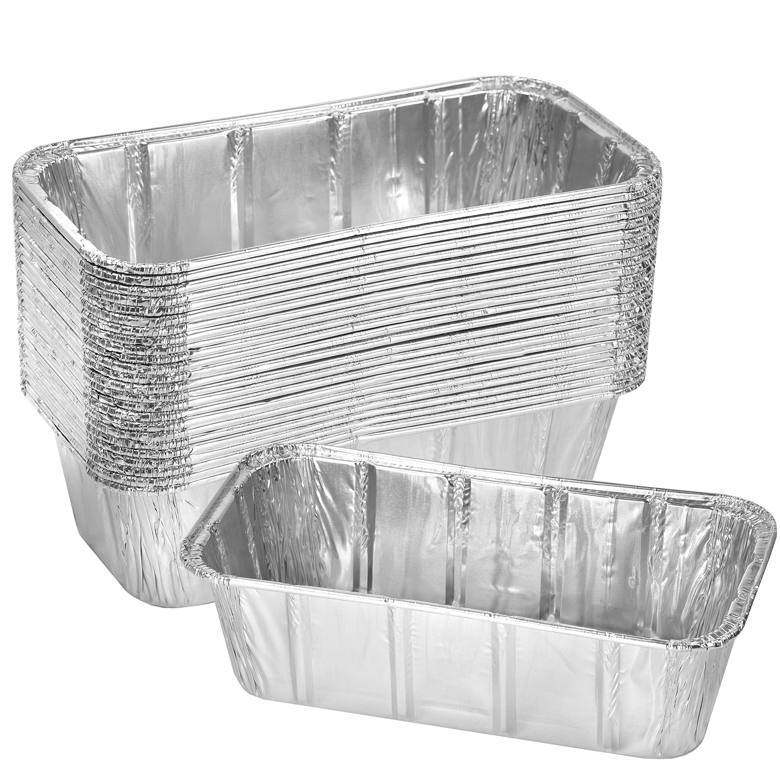 Thick Aluminum Loaf Pans (30 Pack, 8 x 4 Inches) | 2 Lb. Mini Baking Pans for Bread, Lasagna, Meatloaf, Cake | Heavy Duty Disposable Oven Bake Tin for Cooking & Food Storage by NYHI