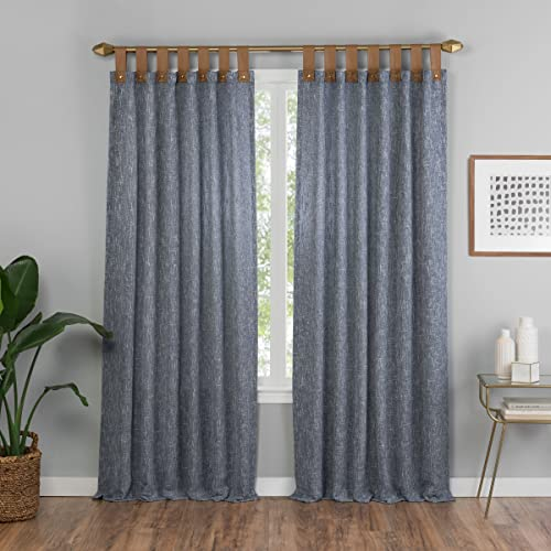 VUE Curtains for Bedroom – Torrington 52 x 63 Decorative Single Panel Tab Top Window Treatment Privacy Curtains for Living Room, Slate