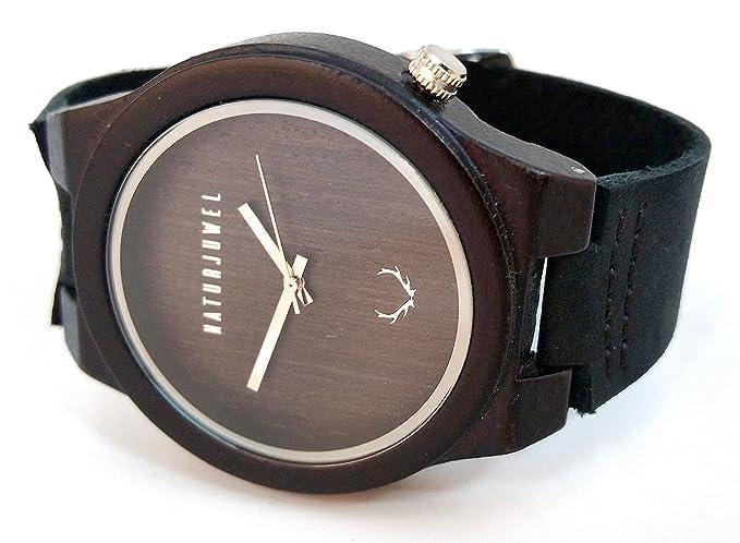 NATURJUWEL design - reloj de pulsera hecha a mano de madera natural especiales; color Ébano
