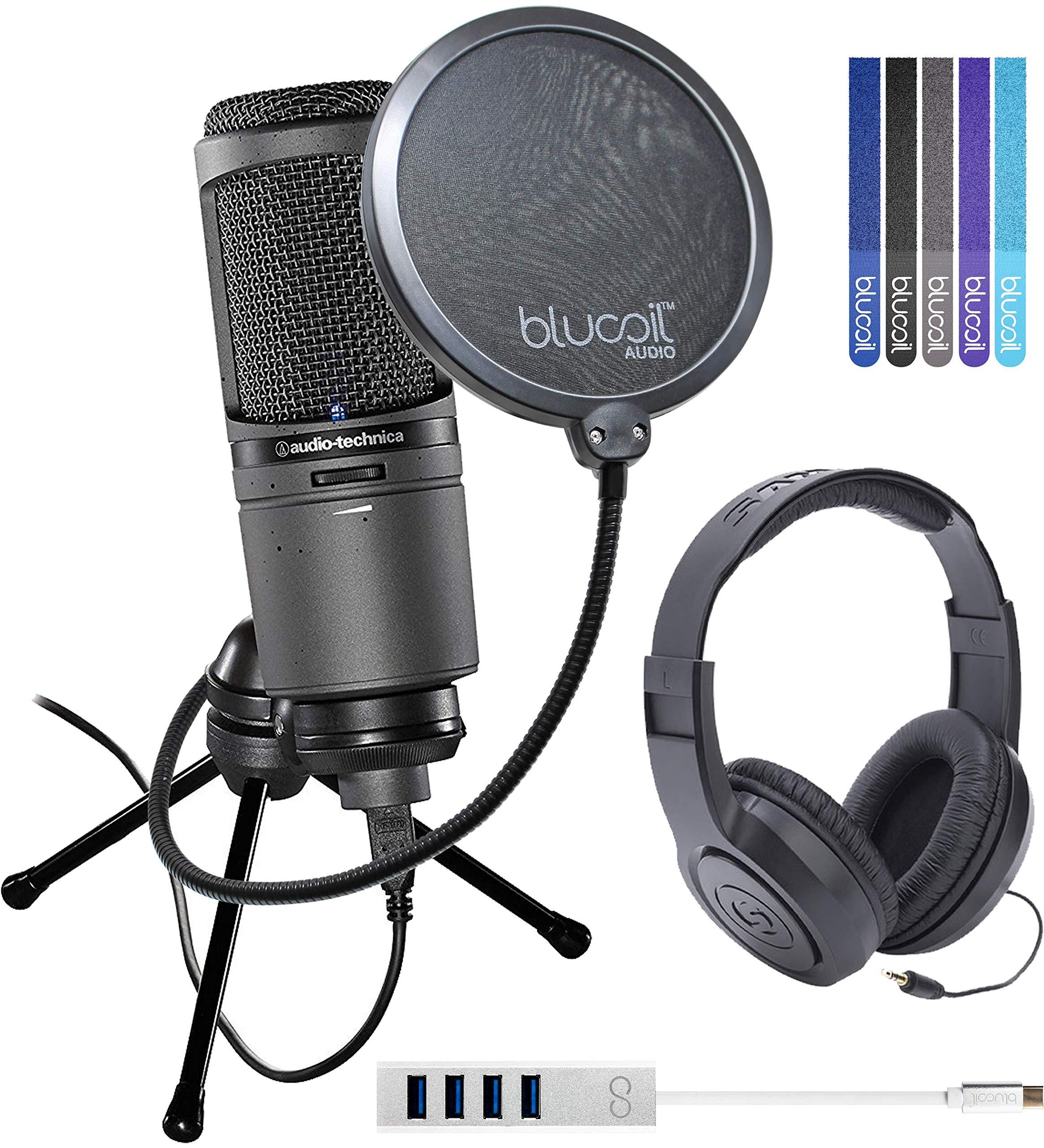 Audio-Technica AT2020USBi Paquete de micrófono USB cardioide con auriculares cerrados Samson SR350 sobre la oreja y part