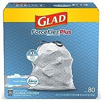 Glad ForceFlexPlus XL X-Large Kitchen Drawstring Trash Bags - 20 Gallon Grey Trash Bag, Fresh Clean with Febreze…