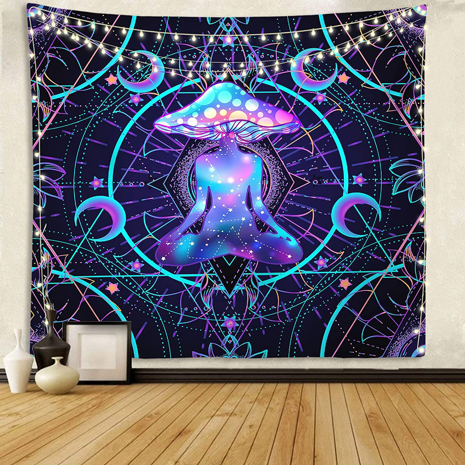 Trippy Tapestry Psychedelic Wall Hanging Mushroom Chakra Wall Blanket Decor for Home, Bedroom, Living Room and Dorm 59x59 Inches