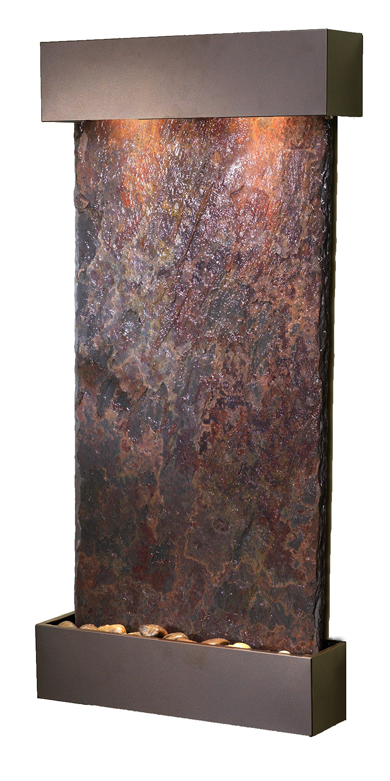 Whispering Creek Water Feature with Antique Bronze Trim and Square Edges (Natural Multi-color Slate)