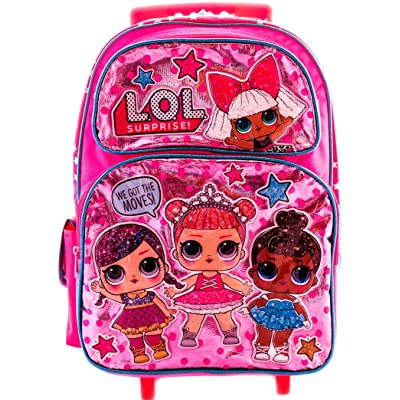 "L.O.L Surprise! Large School Rolling Backpack 16"" Girls Bag Pink LOL Bag Purple 