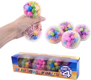 Special Supplies DNA Squish Stress Ball (4-Pack) Squeeze, Color Sensory Toy - Relieve Tension, Stress - Home, Travel and Office Use - Fun for Kids and Adults (Squishy Spiky)